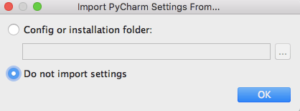Import PyCharm Settings From...