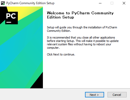 Welcome to PyCharm Community Edition Setup