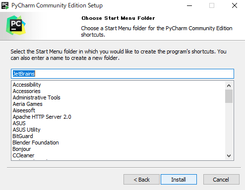 Choose Start Menu Folder